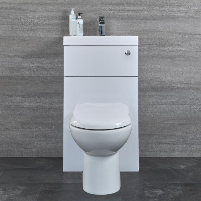 Milano Lurus - White Modern Select Basin and Toilet Unit Combination - 500mm x 890mm