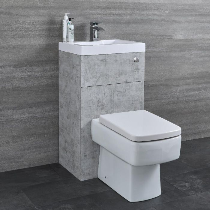 Milano Lurus - Concrete Grey Modern Farington Toilet and Basin Unit Combination - 500mm x 890mm