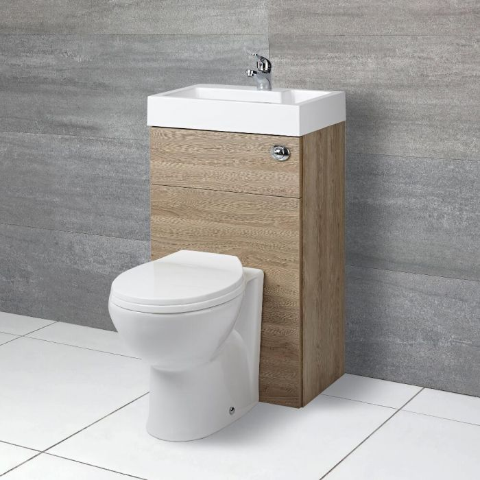 Milano Lurus - Oak Modern Select Toilet and Basin Unit Combination - 500mm x 890mm