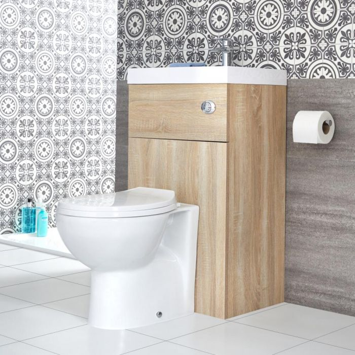 Milano Lurus - Oak Modern Select Toilet and Basin Combination Unit - 500mm x 890mm