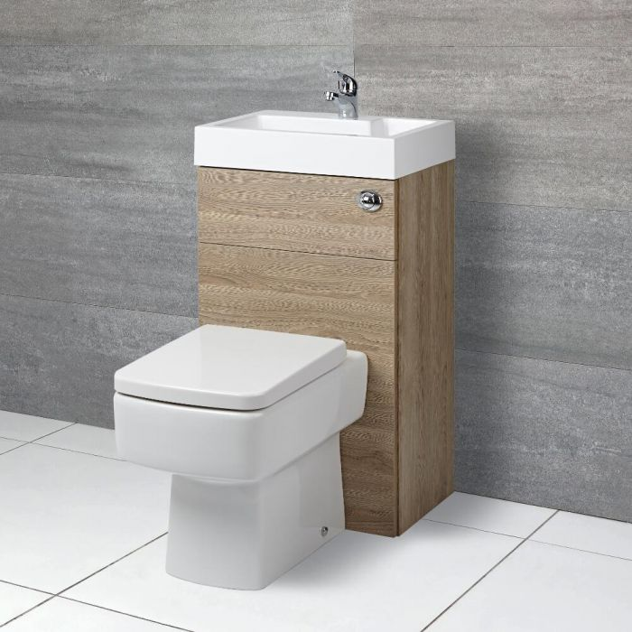 Milano Lurus - Oak Modern Farington Toilet and Basin Unit Combination - 500mm x 890mm