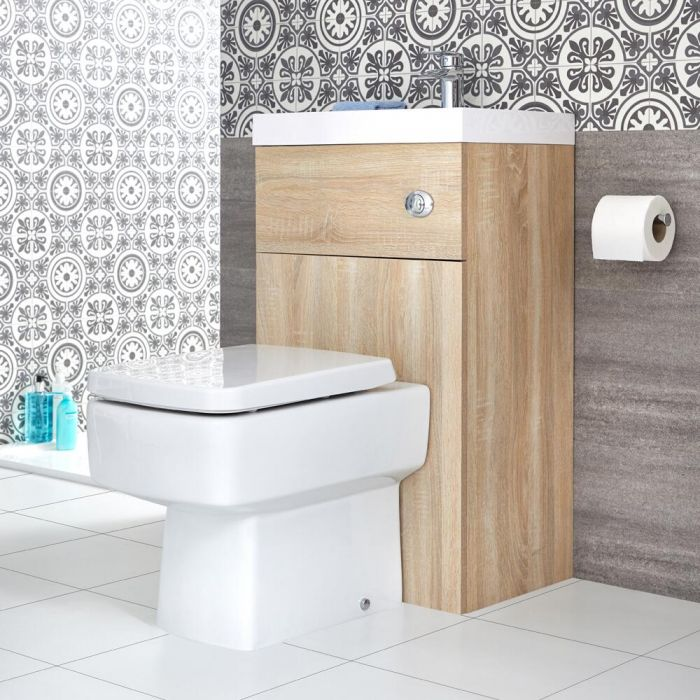 Milano Lurus - Oak Modern Farington Toilet and Basin Combination Unit - 500mm x 890mm