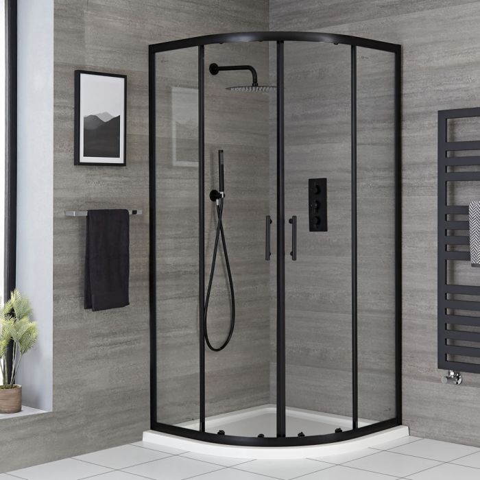 Milano Nero - Black Quadrant Shower Enclosure with Tray - Choice of Sizes