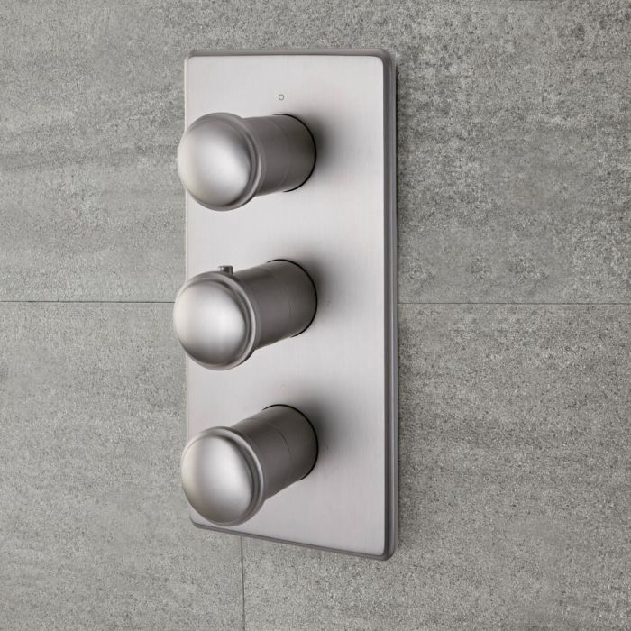 Milano Ashurst - Modern 2 Outlet Triple Thermostatic Shower Valve - Brushed Nickel