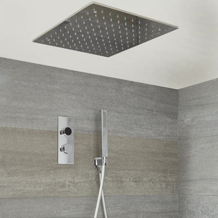 Milano Vis - Modern 2 Outlet Shower with Digital Thermostatic Valve, Hand Shower and Square Recessed Shower Head - Chrome