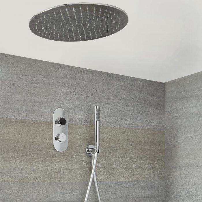Milano Vis - Modern 2 Outlet Shower with Digital Thermostatic Valve, Hand Shower and Round Recessed Shower Head - Chrome