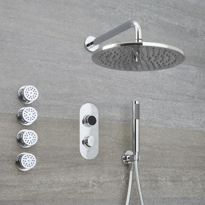 Milano Vis - Modern 3 Outlet Shower with Digital Thermostatic Valve, Hand Shower, Round Wall Mounted Shower Head, and Body Jets - Chrome
