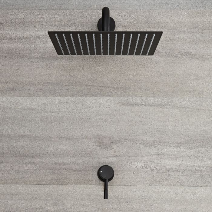 Milano Nero - Modern Manual Shower Valve with 300 x 300mm Square Head and Arm - Black