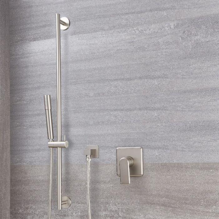 Milano Ashurst - Modern Manual Shower Valve with Round Slide Rail Kit - Brushed Nickel