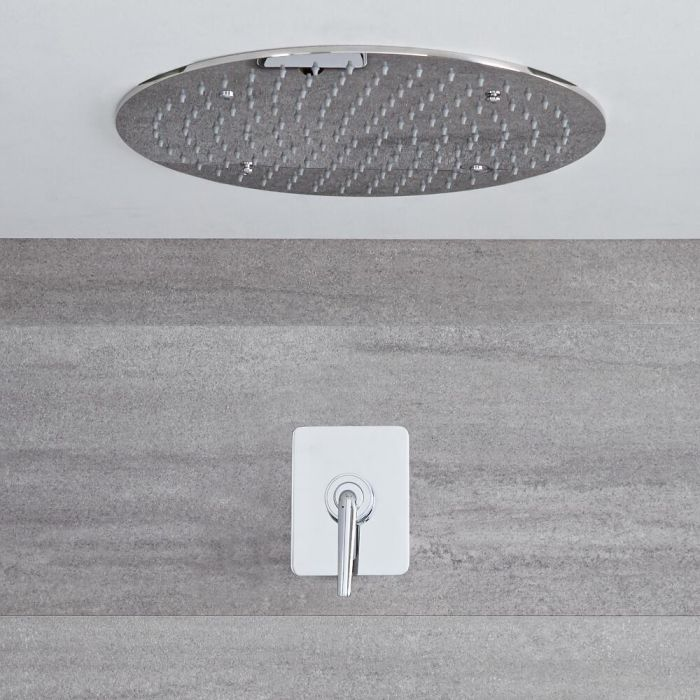 Milano Vora -  Modern Manual Concealed Shower Valve with 400mm Round Recessed Head - Chrome