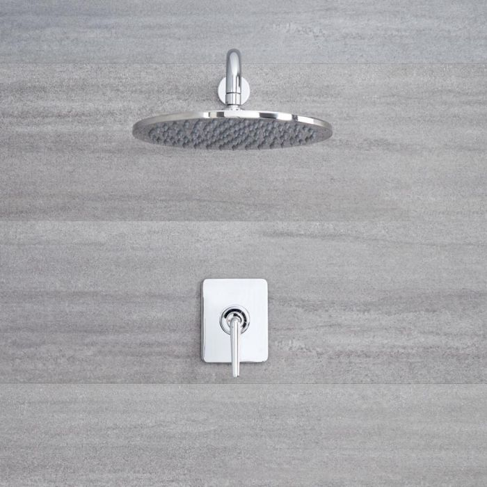 Milano Vora - Modern Manual Concealed Shower Valve with 300mm Round Head and Arm - Chrome