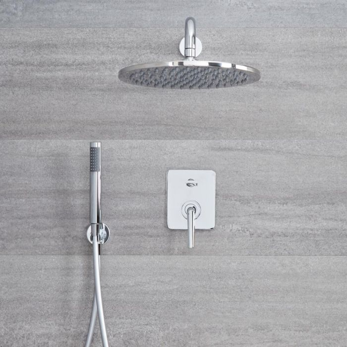 Milano Vora - Chrome Shower with Diverter, Shower Head and Hand Shower (2 Outlet)