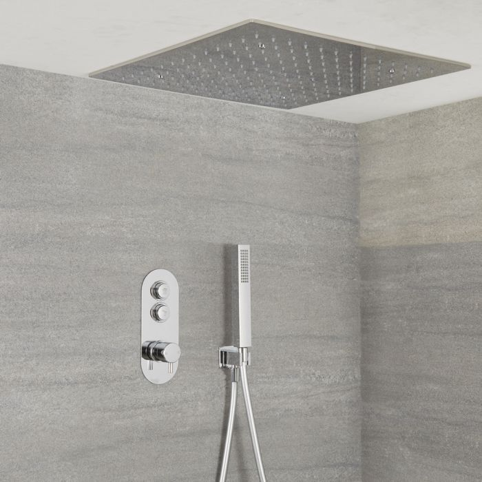 Milano Orta - Modern 2 Outlet Shower with Push Button Valve, Hand Shower and 500mm Square Recessed Shower Head - Chrome