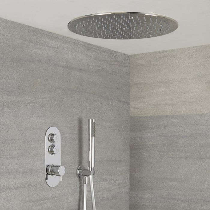 Milano Orta - Modern 2 Outlet Shower with Push Button Valve, Hand Shower and Round Recessed Shower Head - Chrome