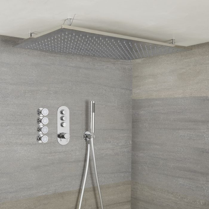 Milano Orta - Modern 3 Outlet Shower with Push Button Valve, Hand Shower, Ceiling Mounted Shower Head and Body Jets - Chrome