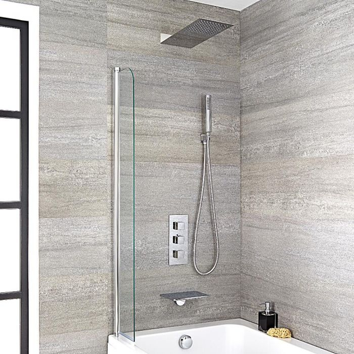 Milano Blade - Modern Wall Mounted Waterfall Bath Filler with Triple Thermostatic Valve, Shower Head and Hand Shower