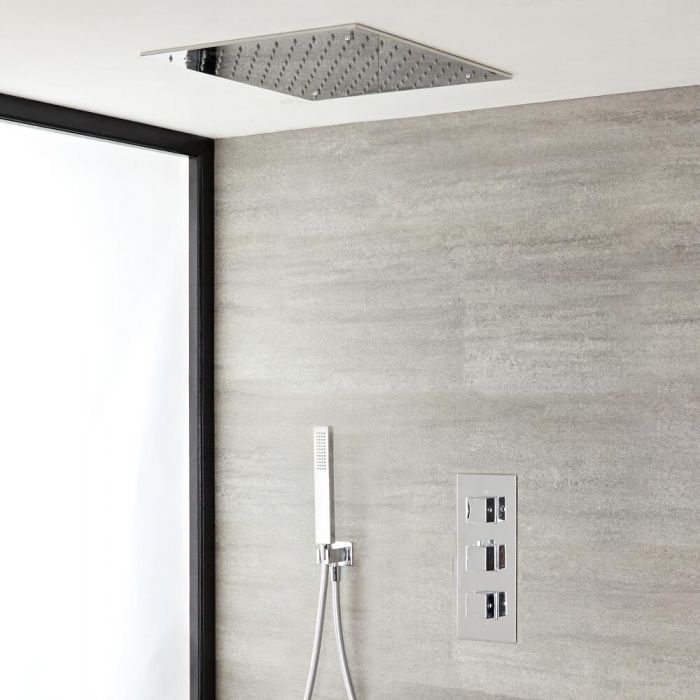 Milano Arvo - Modern Square Triple Thermostatic Valve with 400mm Recessed Shower Head and Hand Shower - Chrome