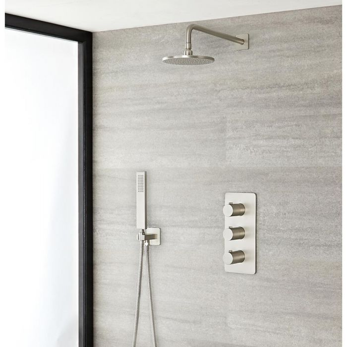 Milano Ashurst - Modern Triple Thermostatic Shower Valve, 200mm Round Head and Hand Shower - Brushed Nickel