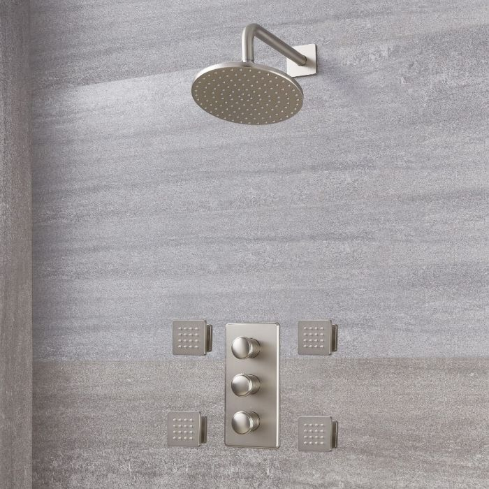 Milano Ashurst - Modern Triple Thermostatic Shower Valve, 200mm Round Head and Body Jets - Brushed Nickel
