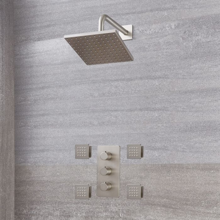 Milano Hunston - Modern Triple Thermostatic Shower Valve, 200mm Square Head and Body Jets - Brushed Nickel
