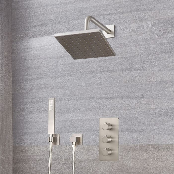 Milano Hunston - Modern Triple Thermostatic Shower Valve, Square Head and Handset - Brushed Nickel