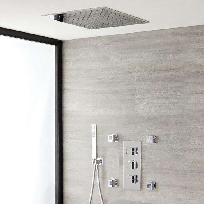 Milano Arvo - Modern Square Triple Diverter Thermostatic Valve, 400mm Square Recessed Shower Head, Hand Shower and Body Jets - Chrome