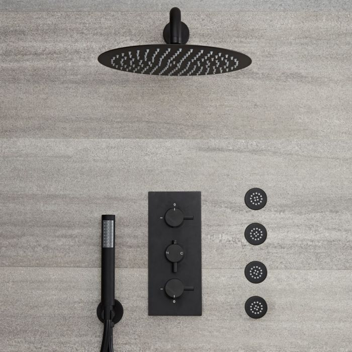 Milano Nero - Modern Triple Thermostatic Diverter Shower Valve with 300mm Round Head, Hand Shower and Body Jets - Black