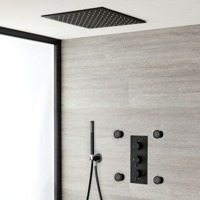 Milano Nero - Black Triple Diverter Concealed Valve with 400mm Square Recessed Head, Hand Shower and Jets