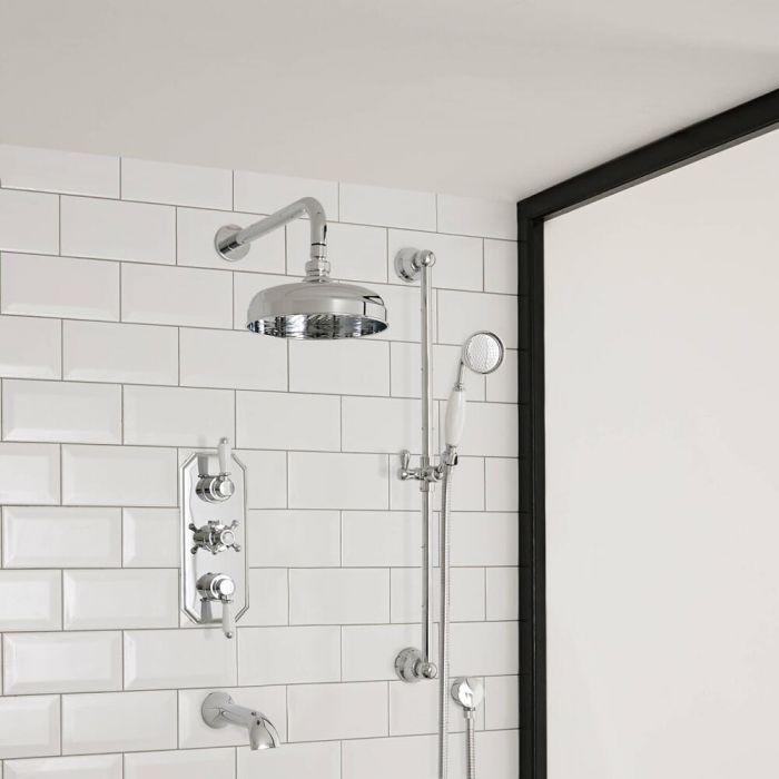 Milano Elizabeth - Traditional Triple Diverter Valve with 150mm Round Shower Head, Wall Arm, Slide Rail and Bath Spout - Chrome