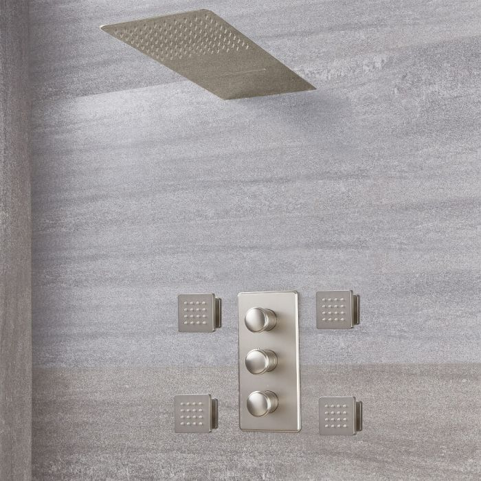 Milano Ashurst - Brushed Nickel Thermostatic Shower with Diverter, Waterblade Shower Head and Body Jets (3 Outlet)