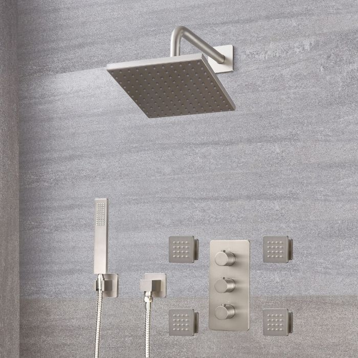 Milano Hunston - Modern Triple Diverter Thermostatic Valve, Square Head, Handset and Body Jets - Brushed Nickel
