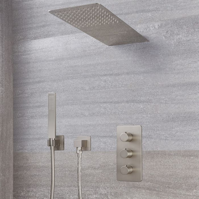 Milano Hunston - Modern Triple Diverter Thermostatic Valve, Waterblade Head and Square Handset - Brushed Nickel