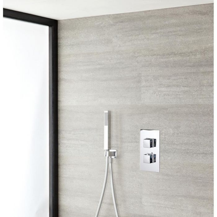 Milano Arvo - Modern Square Twin Thermostatic Valve with Rectangular Hand Shower and Outlet Elbow - Chrome