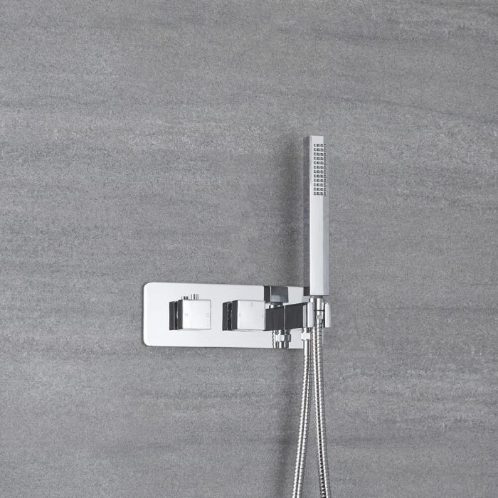 Milano Arvo - Modern 1 Outlet Square Twin Diverter Thermostatic Shower Valve with Hand Shower - Chrome