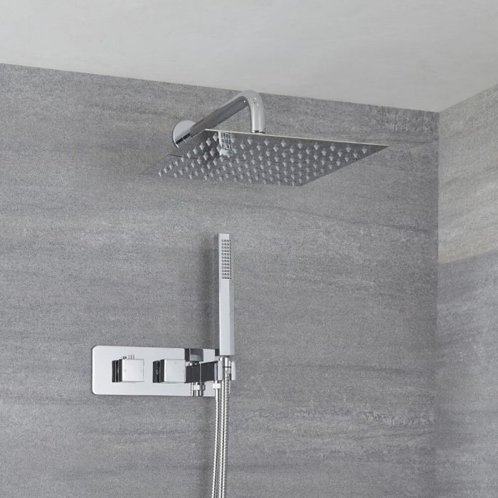Milano Arvo - Modern 2 Outlet Square Twin Diverter Thermostatic Shower Valve with Hand Shower and 300mm Shower Head - Chrome