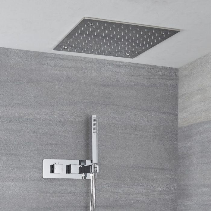 Milano Arvo - Modern Square Twin Diverter Thermostatic Shower Valve with Hand Shower and 400mm Recessed Head - Chrome