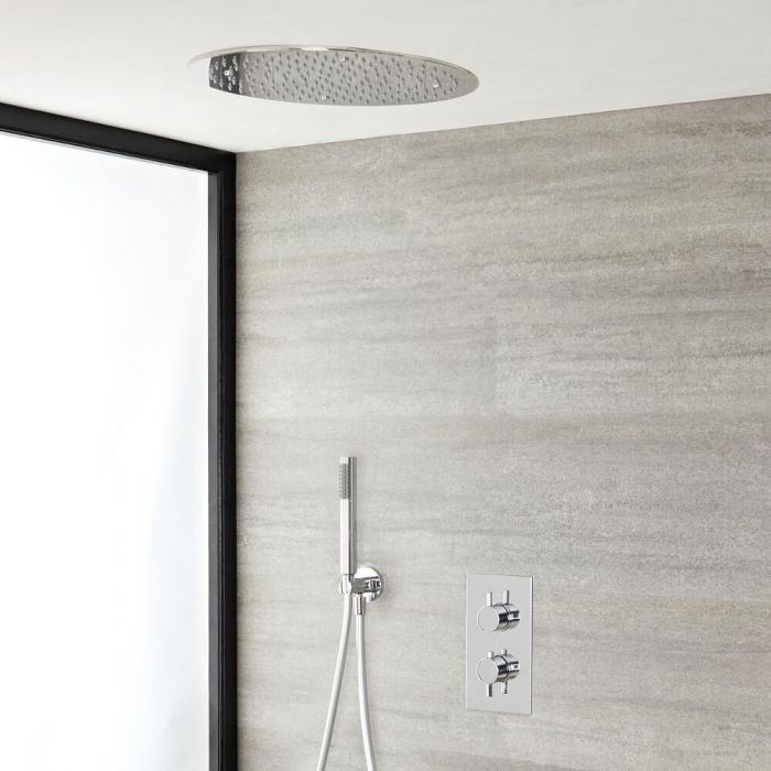 Milano Mirage - Modern Round Twin Diverter Thermostatic Valve with 400mm Round Recessed Shower Head and Hand Shower - Chrome