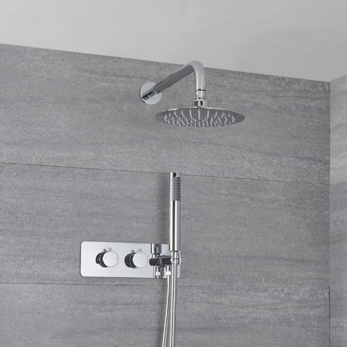 Milano Mirage - Modern Round Twin Diverter Thermostatic Shower Valve with 200mm Round Wall Mounted Shower Head and Hand Shower - Chrome