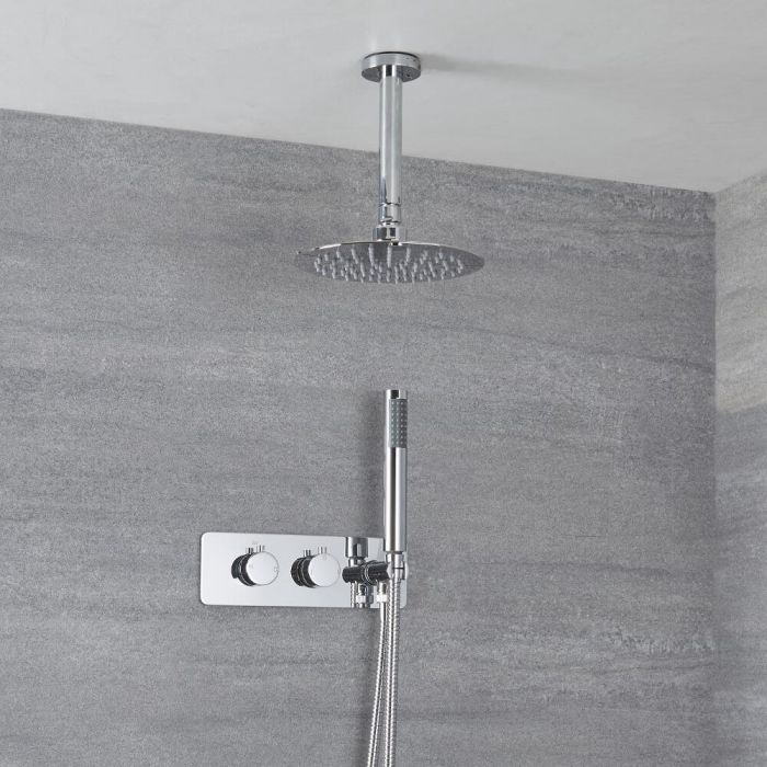Milano Mirage - Chrome Thermostatic Shower with Diverter, Ceiling Mounted Shower Head and Hand Shower (2 Outlet)
