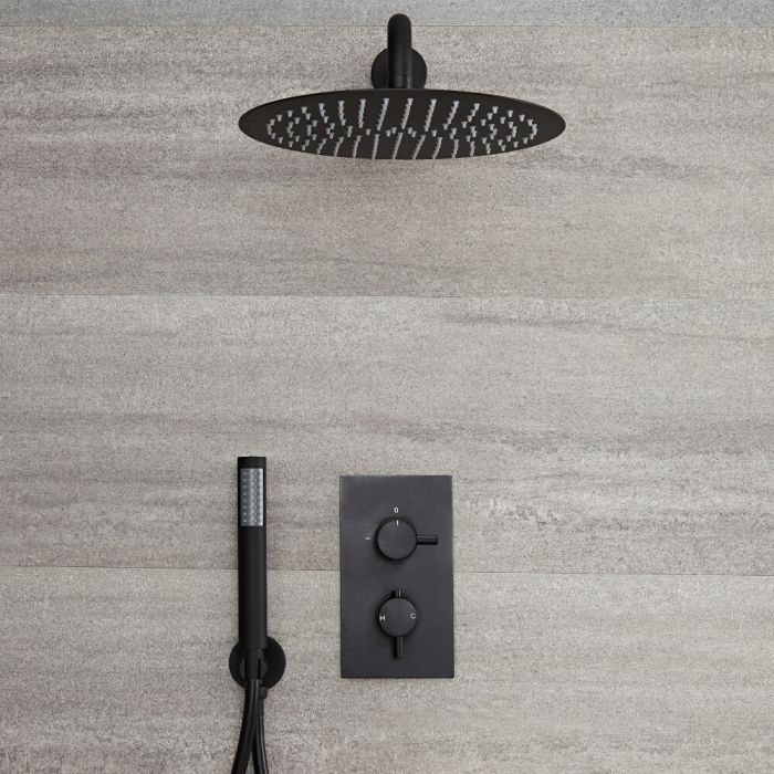 Milano Nero - Black Thermostatic Shower with Diverter, Round Shower Head and Hand Shower (2 Outlet)