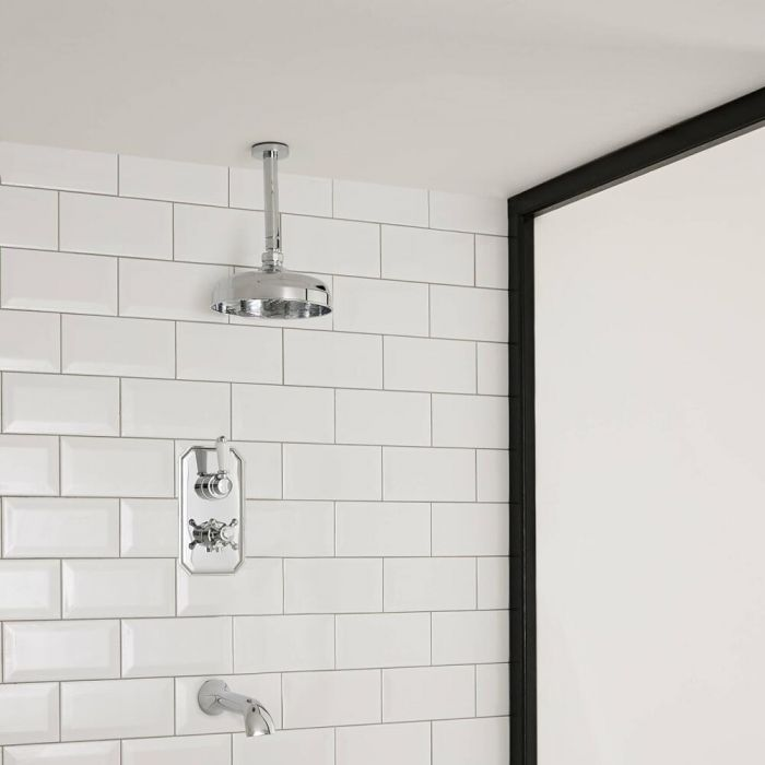 Milano Elizabeth - Traditional Twin Diverter Thermostatic Valve with 300mm Shower Head, Ceiling Arm and Bath Spout - Chrome and White