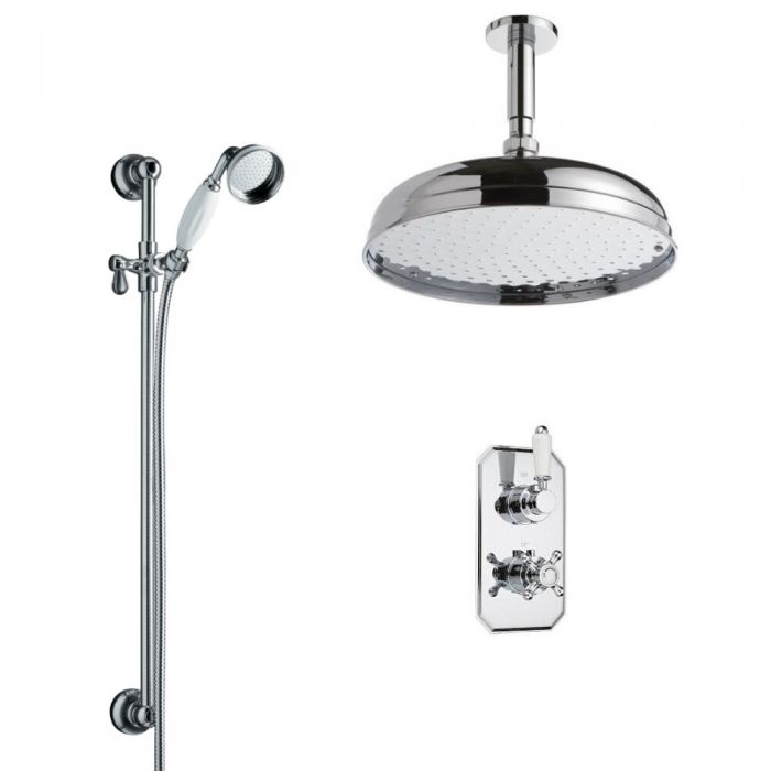 Milano Elizabeth - Traditional Twin Diverter Thermostatic Valve with 300mm Shower Head, Ceiling Arm, Slide Rail and Hand Shower - Chrome and White