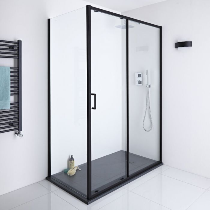 Milano Nero - 1400mm Shower Sliding Door, 800mm Side Panel and Tray