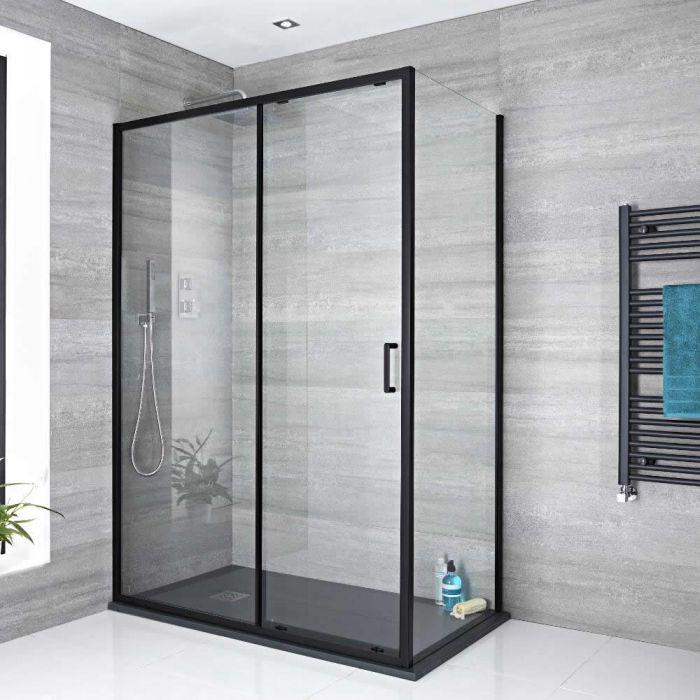 Milano Nero - Black Sliding Shower Door - Choice of Sizes and Side Panel