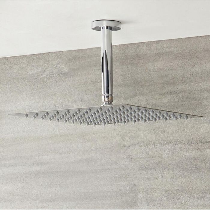 Milano Arvo - Modern Square 400mm Slim Shower Head with Ceiling Mounted Arm - Chrome