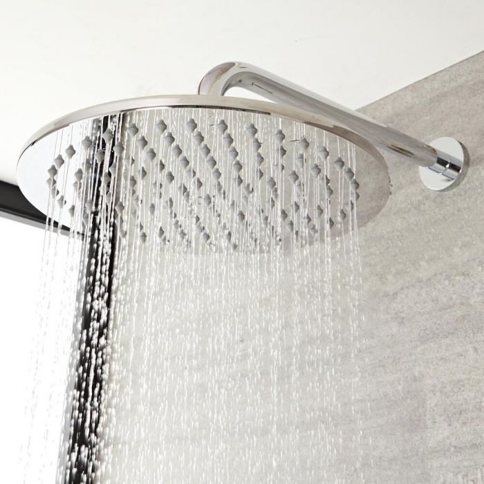 Milano Mirage - Modern Round 200mm Stainless Steel Shower Head and Wall Mounted Arm - Chrome