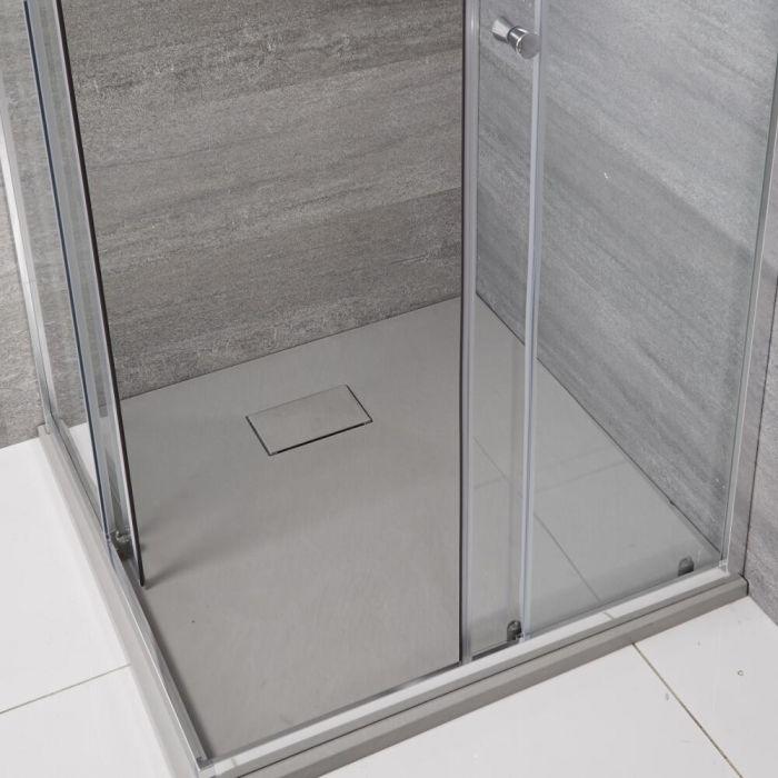 Milano Rasa - Light Grey Slate Effect Square Shower Tray - 900mm