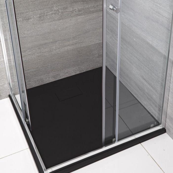 Milano Rasa - Graphite Slate Effect Square Shower Tray - 800mm