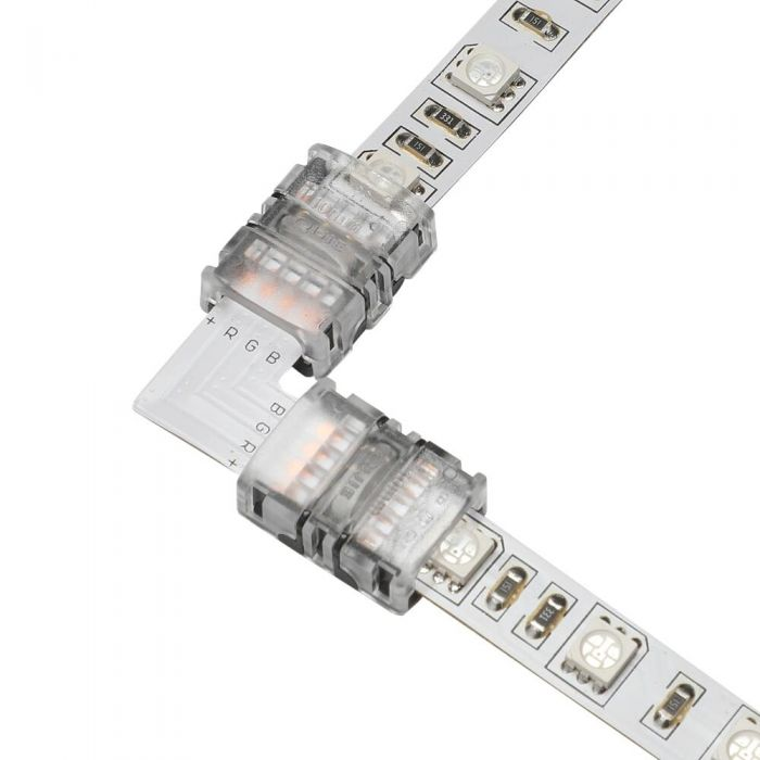 Biard L-Shaped LED Strip Connector for 5050 10mm IP20 RGB - 4 Pin