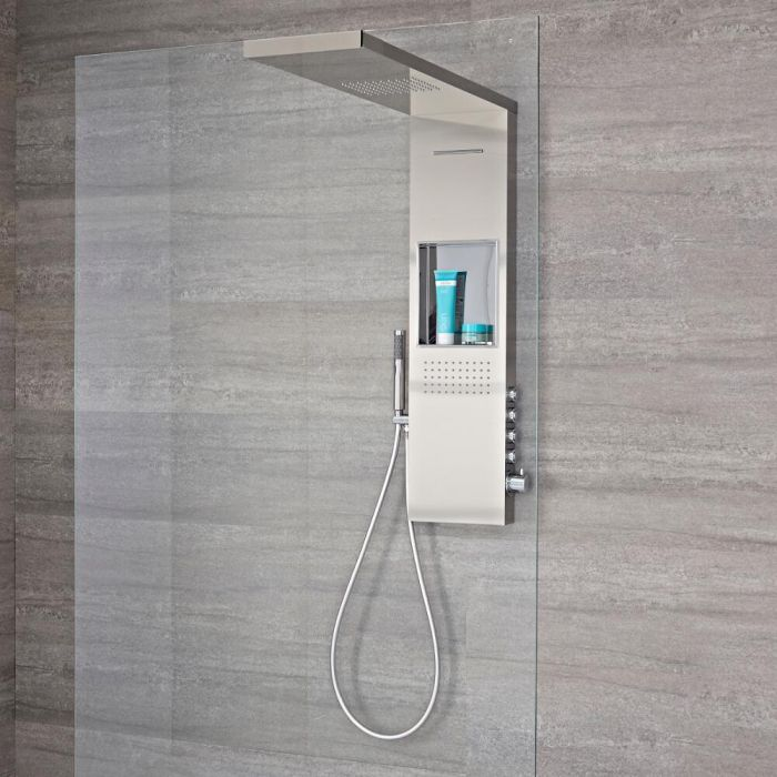 Milano Vaso - Modern 1000mm Exposed Shower Tower Panel with Shelf, Glass Grabbing Shower Head, Hand Shower and Body Jets - Brushed Steel